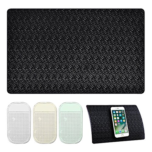 AFUNTA 4 PCS Anti-Slip Car Dash Sticky Pads, 2 Size Heat Resistant Non-Slip Mats, Dashboard Cell Phone Mount Holder Mats, Reusable after Washing off Dust ()