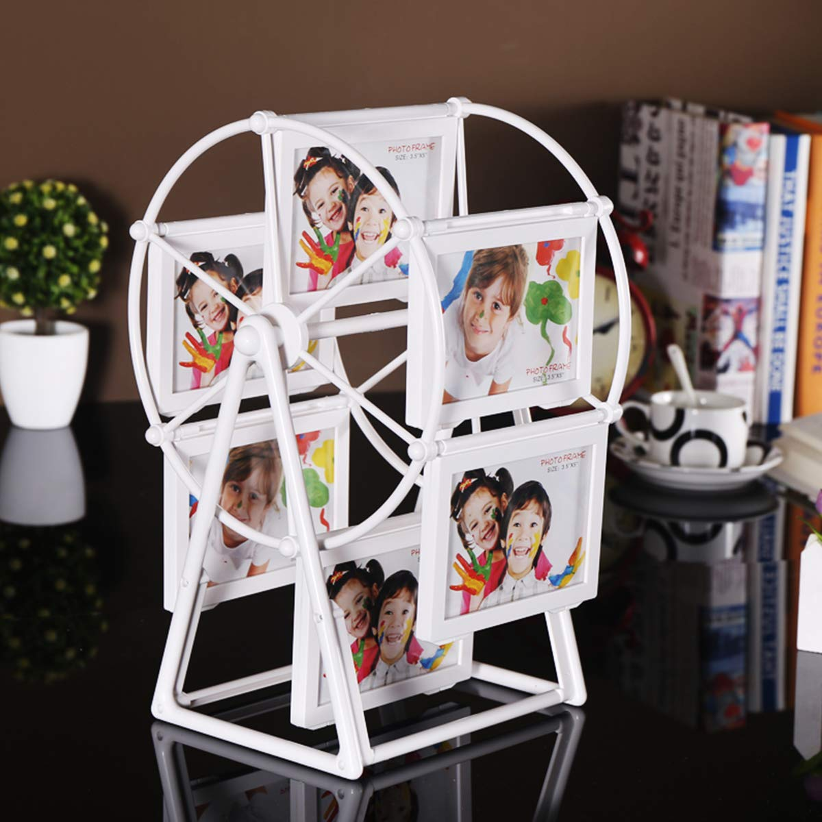 Baby Photo Frame for 12 Photos Shows for 5 inches Photographs Ferris Wheel Shape Picture Frame with Glass Front Fit for Stands Vertically on Desk Table Top White