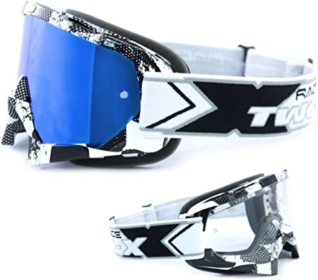 Two X Race Crossbrille Factory Schwarz Weiss Glas Verspiegelt Blau Mx Brille Motocross Enduro Spiegelglas Motorradbrille Anti Scratch Mx Schutzbrille Auto