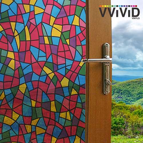 Stained Glass Kitchen Cabinets - VViViD Multicolor Stained Glass Shard Privacy Frosted Stained Glass Decorative Window Film for Bathroom, Kitchen, Home, Office Easy to Install DIY (17.75