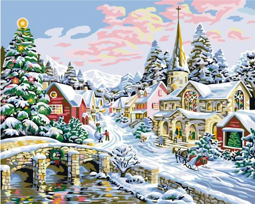 Diy oil painting, paint by number kit- Merry Christmas 16*20 inch.