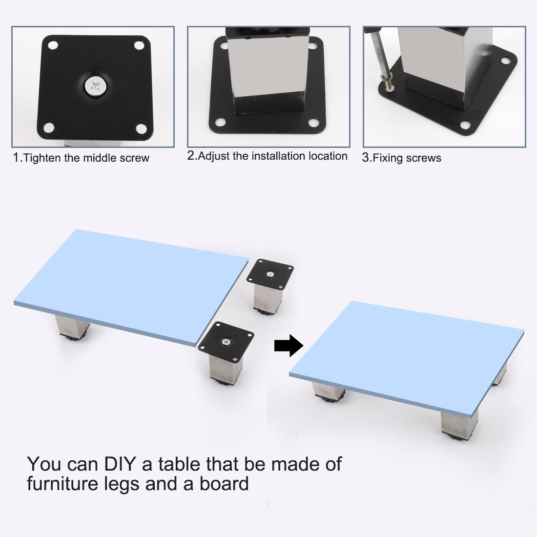 uxcellAluminum Alloy 4pcs Adjustable Furniture Cabinet Sofa Desk Table Bed Legs Feet Height(Total:100-118mm) x 38mm Width a18011600ux0045