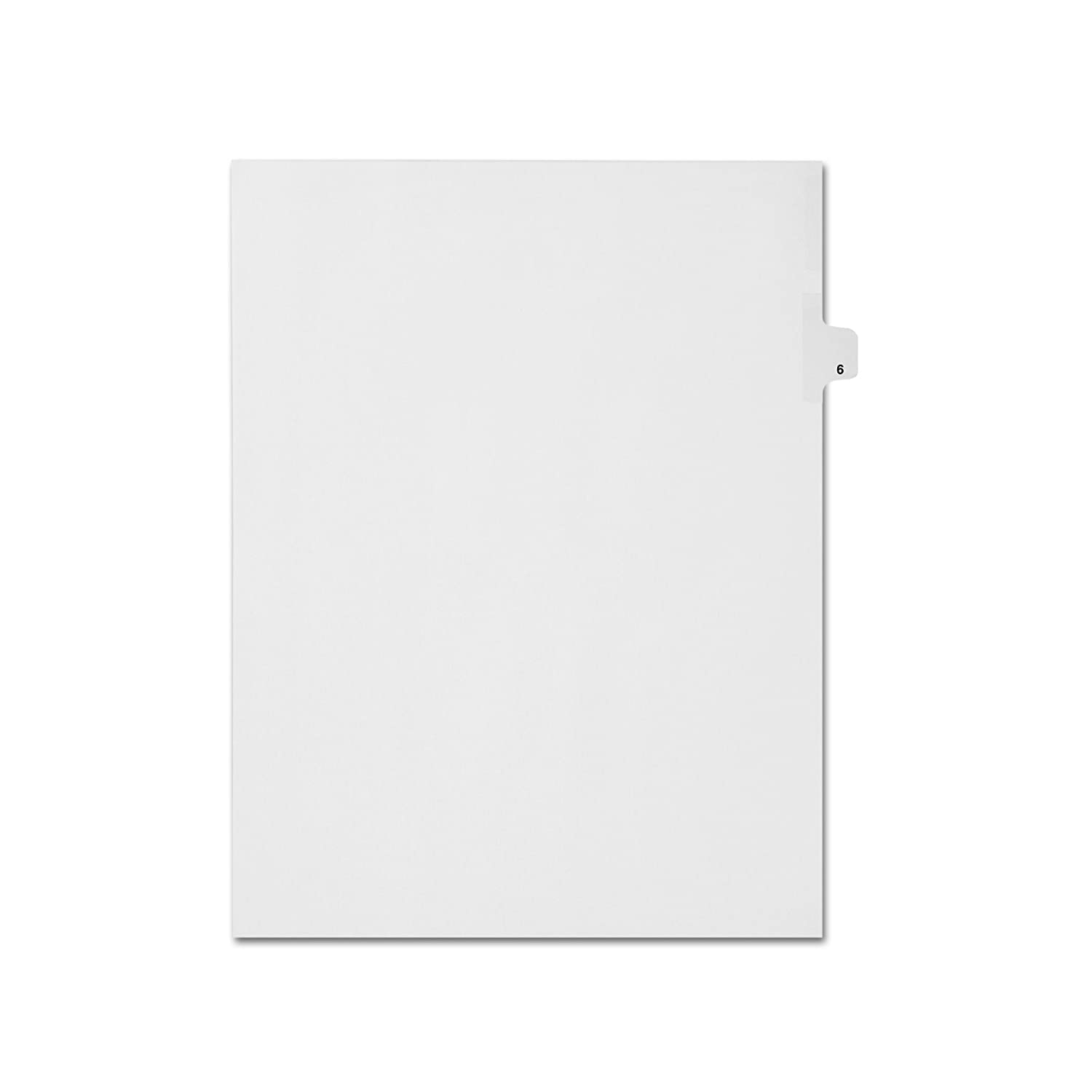Side Tabs Letter Size AMZfiling Individual Index Tab Dividers- Number 6 Position 6 White 25 Sheets//Pkg