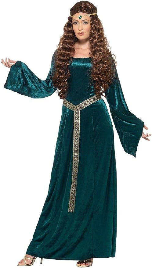 Fancy Me Disfraz de Renacimiento Medieval, Largo y Verde Azulado ...