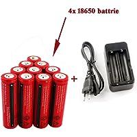 YaFire 4X Wiederaufladbare 3.7V Lithium-Ionen 18650 Akkus (3000mAh/3,6V-3,7V/30A/Li-Ion, 4er Pack ) und 2 Kanal Ladegerät für 18650 Akku Batterie - Anwendbar für Taschenlampen, nicht für Elektronische Zigarette