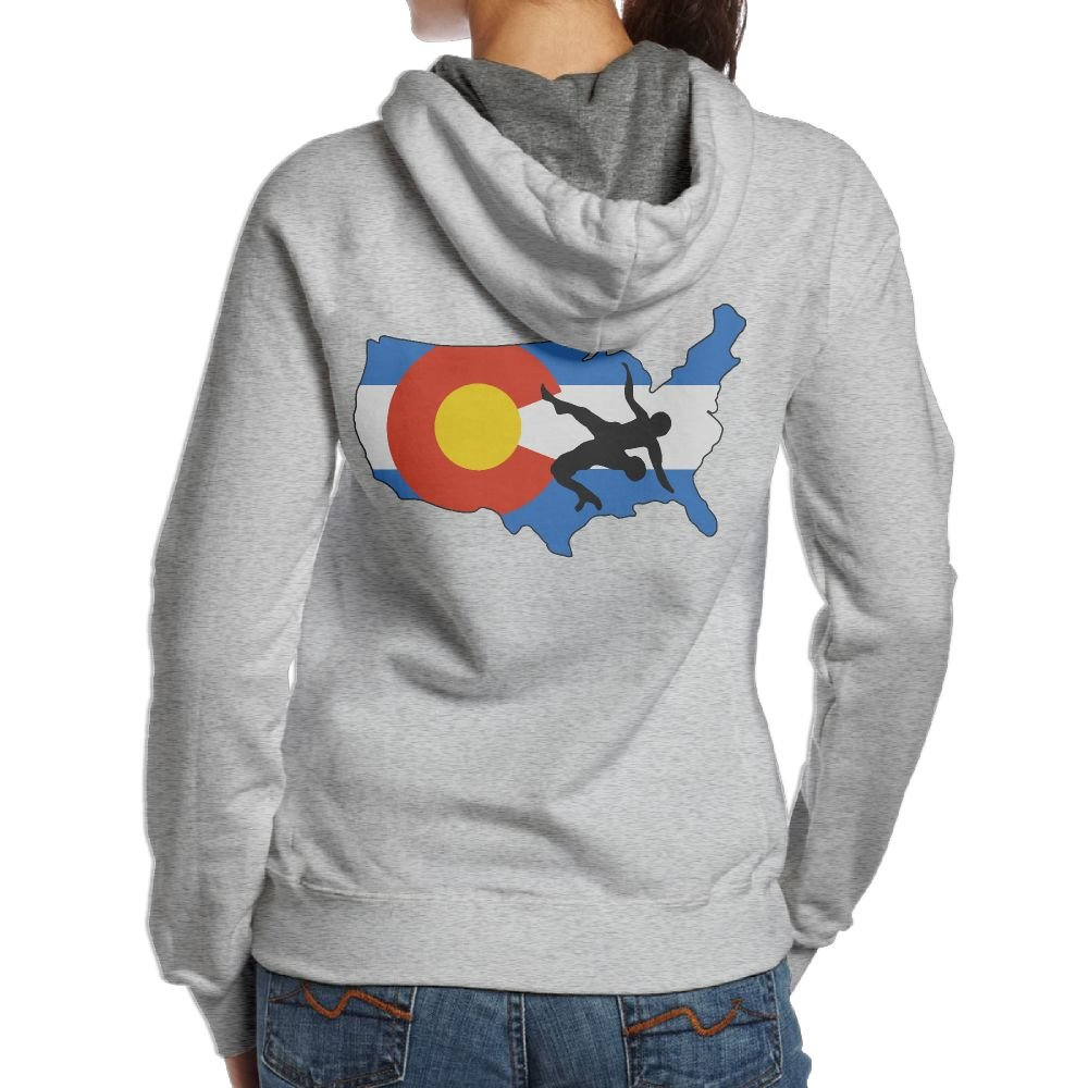 Colorado USA Wrestling Women's Pullover Hooded Sweatshirt,Back Print