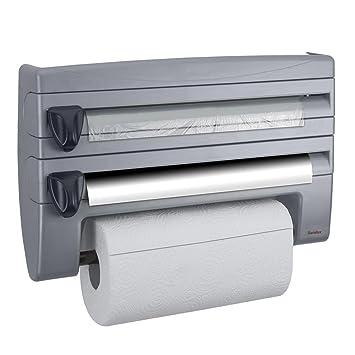 Metaltex Rolln con diseño de rollos de papel de cocina dispensador de plata,
