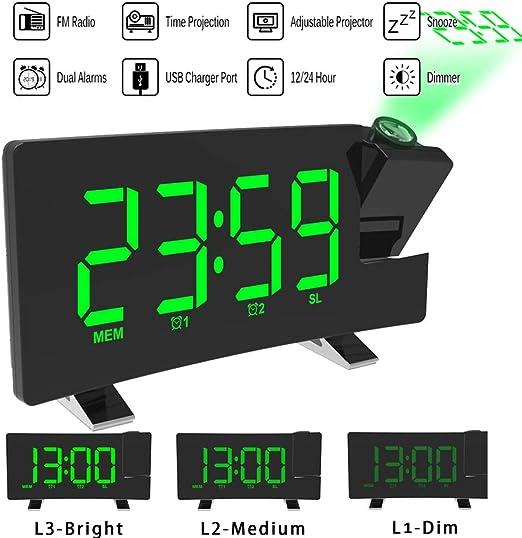 ALLOMN Reloj Despertador de Proyección, Reloj Despertador Digital ...