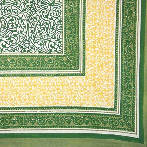 Homestead Handmade 100% Cotton Persian Filigree Block Print Tablecloth Tapestry Coverlet Beach Sheet Bed Sheet Dorm Decor 60x90 (Green)