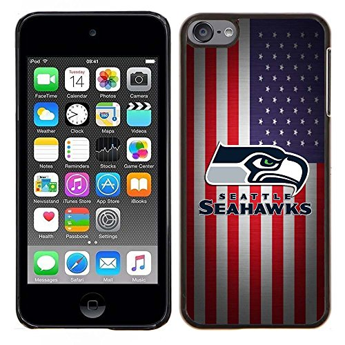 iPod Touch 5 Case, iPod Touch 6 Cases, Seahawks Logo 03 Drop Protection Never Fade Anti Slip Scratchproof Black Hard Plastic Case