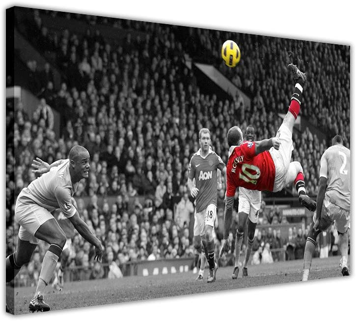 FAMOUS MANCHESTER UNITED WAYNE ROONEY BICYCLE KICK FRAMED PICTURES CANVAS WALL ART PRINTS FOOTBALL POSTER SIZE 30CM X 20CM A4-12 X 8