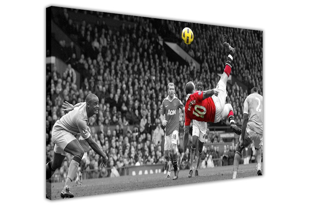FAMOUS MANCHESTER UNITED WAYNE ROONEY BICYCLE KICK FRAMED PICTURES CANVAS  WALL ART PRINTS FOOTBALL POSTER SIZE