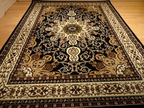 Generations New Oriental Traditional Isfahan Persian Area Rug, 8' x 10.5', Black (Furniture 100 Traditional)