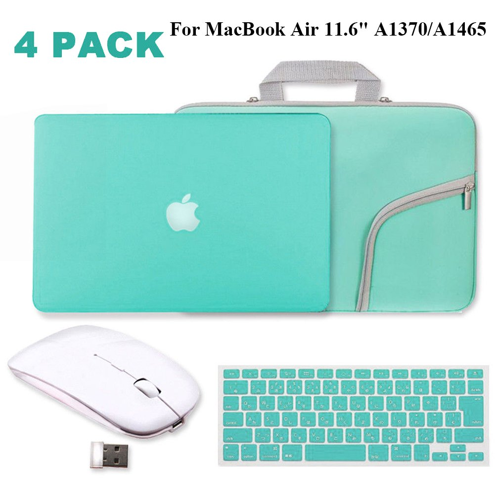 Turquoise Matte Hard Case for MacBook Air 11.6''-IC ICLOVER Rubberized (Rubber Coated) Shell Case + Silicone Keyboard Cover Protector + Sleeve Bag+ Wireless Mouse for MacBook Air 11 inch A1370/A1465