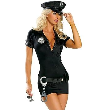 2ddadb376762e GYH Ensemble Déguisement De Policier Femme Officier Uniforme Policière Robe  Ceintures Menottes Spontoon Tenus Police Cosplay