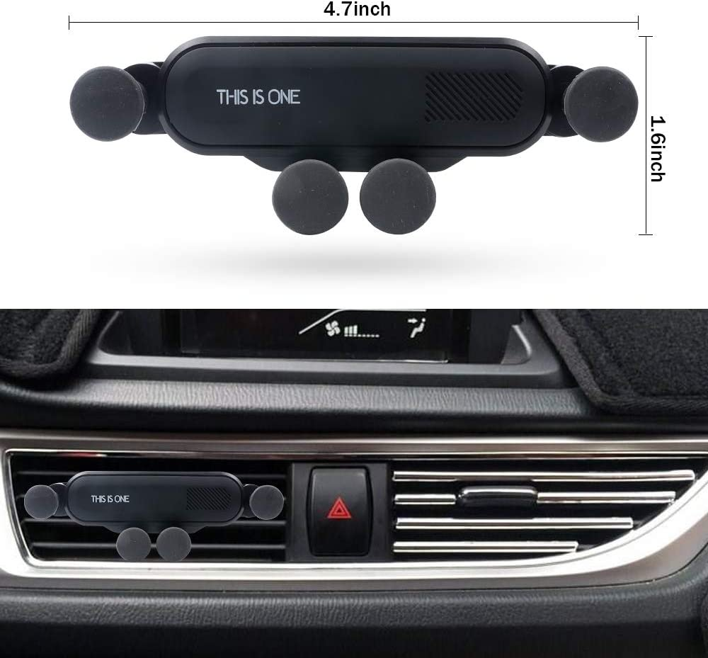 Upgraded Vech Air Vent Phone Holder Black 360 Degree Adjustable Car Cradles Air Vent Car Mounts Holder Auto-Retractable Automatic Locking with Pneumatic Shock Protector for for All Smartphones