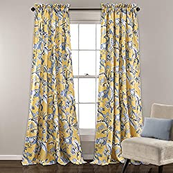 OVS 2 Piece 84 Inch Girls Yellow Color Floral Curtain Panel Pair, Blue Color Window Drapes, Kids Themed Animal Print Energy Efficient Room Darkening Rod Pocket Playful Luxurious, Polyester