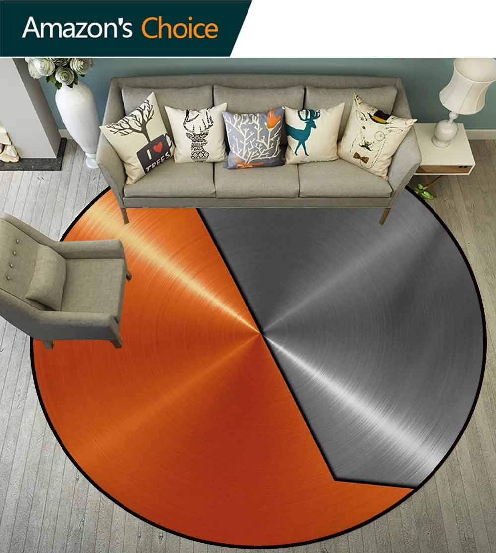 RUGSMAT Orange and Grey Rug Round Home Decor Area Rugs,3D Style Machinery Structure Image Detailed Vivid Modern Contrast Colors Non-Skid Bath Mat Living Room/Bedroom Carpet,Diameter-71 Inch