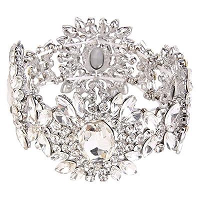 EVER FAITH Women's Austrian Crystal Bridal Flower Elastic Stretch Bracelet