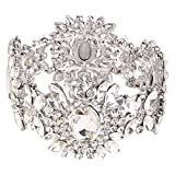 EVER FAITH Women's Austrian Crystal Bridal Flower Elastic Stretch Bracelet Clear Silver-Tone