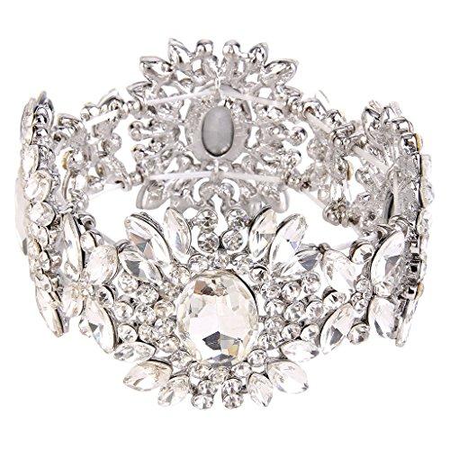 EVER FAITH Women's Austrian Crystal Bridal Flower Elastic Stretch Bracelet Clear - Crystal Bracelet Family