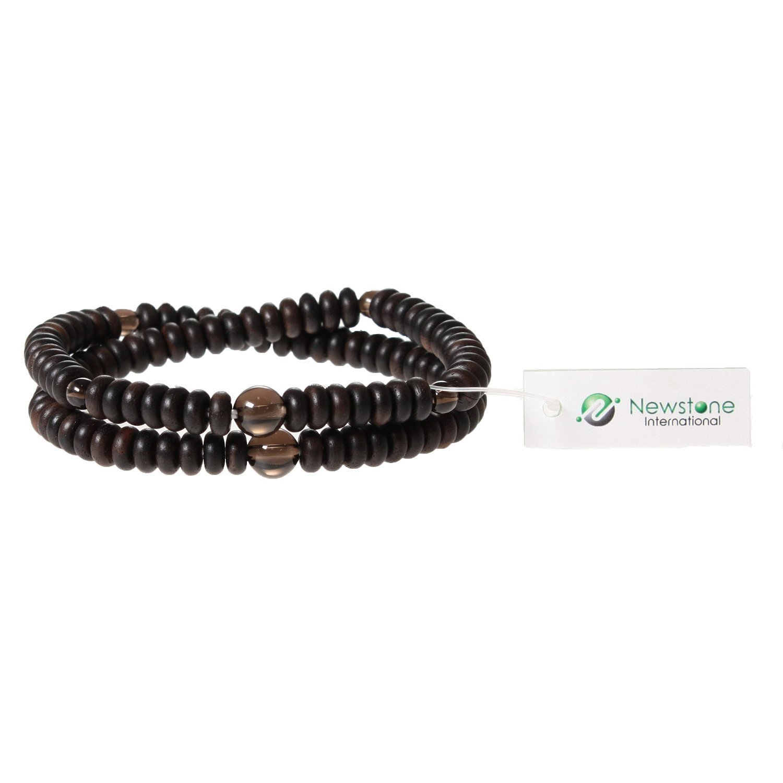 Newstone Nenju Bracelet 108 beads Striped Ebonywood Rondelle Smokey Quartz Double wrap bracelet