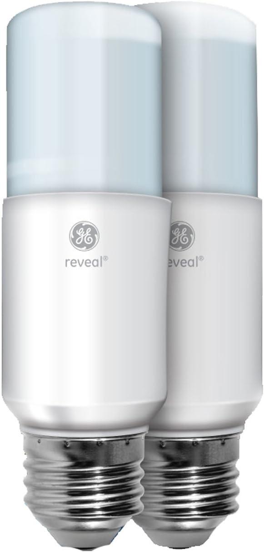 GE Lighting 36470 Reveal LED Bright Stik Light Bulb with Medium Base, 14-Watt, 2-Pack