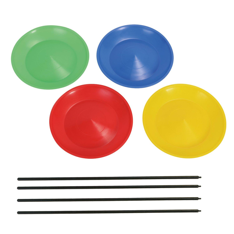 One Size Hudora Unisexs Sports 4-Piece Juggling Plates Multi-Colour