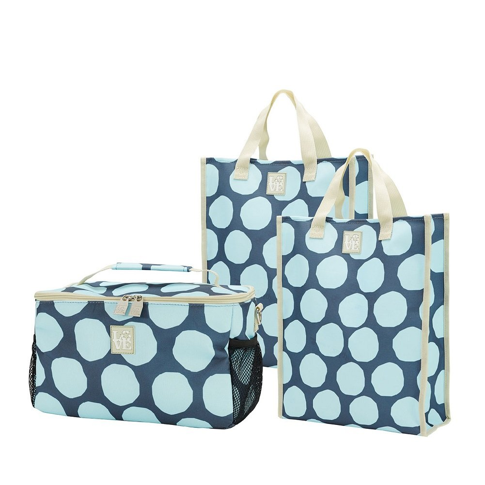 Chill Set Insulated Cooler and 2 Reusable Grocery Bag Totes Spot On Pattern by Love Bags