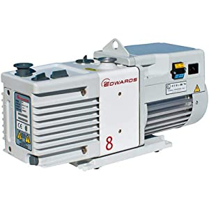 Across International RV8 Edwards RV8 Dual Stage High Capacity Vacuum Pump with Fittings, 6.9 cfm, 110/220V, 50/60 Hz