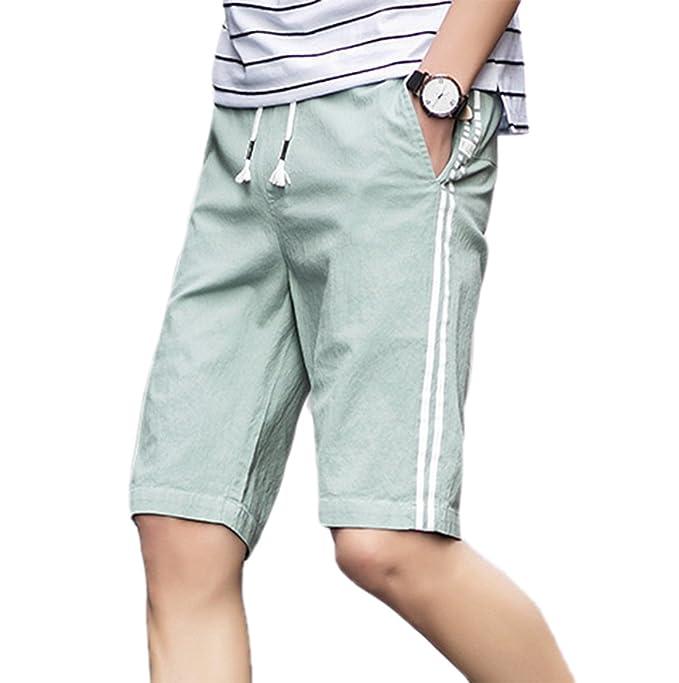 c4182165a Pantalones Cortos de Caballero Pantalones Casuales Pantalones Cortos de  Fitness Pantalones Cortos Gran tamaño Pantalones Cortos de Playa de algodón  y Lino ...
