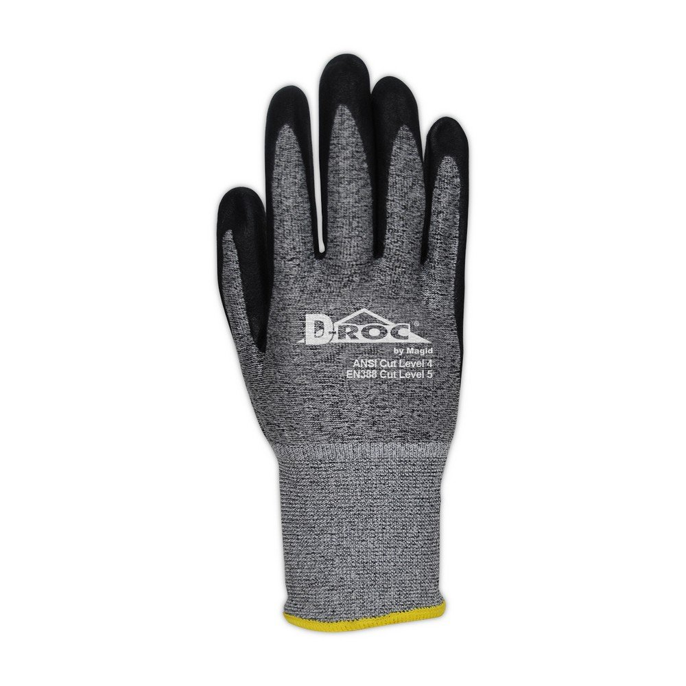 Magid Glove & Safety GPD586-10 Magid D-ROC 18-Gauge HPPE Blend Foam Nitrile Palm Coated Work Glove Cut Level 4, 11, Salt & Pepper , 10 (Pack of 12) by Magid Glove & Safety (Image #2)