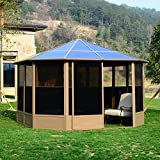 Clearance Price Outsunny 13'x13' Outdoor Hardtop Gazebo Patio Sun Shelter with Removable walls, Pavilion