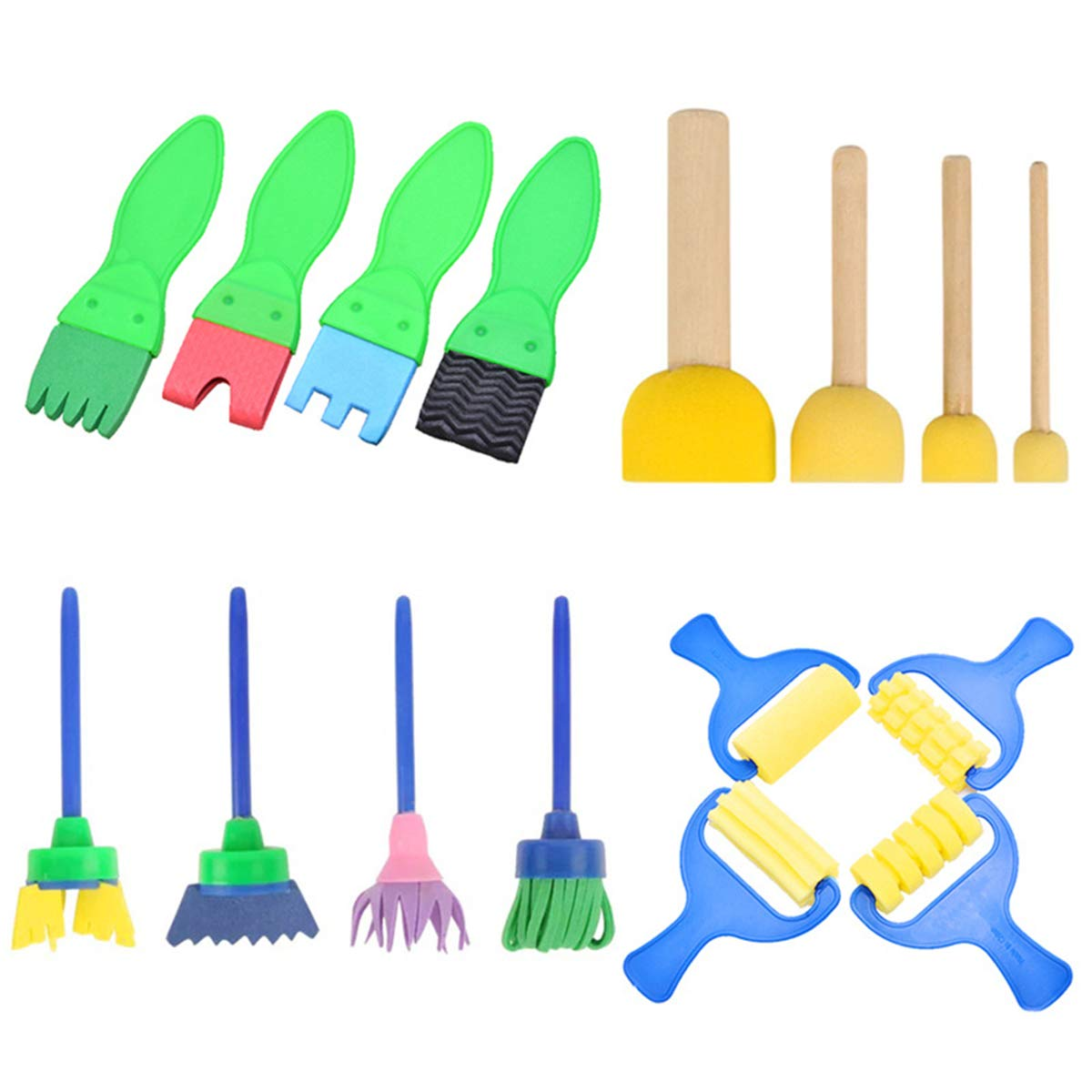 13 Kids Drawing Tools Set Beautifultracy 48 Pcs Painting Kits Kids Sponge Painting Brushes Kits for Kids DIY Early Learning Foam Brushes Include 1 Waterproof Apron 26 Letters 8 Pattern Brush