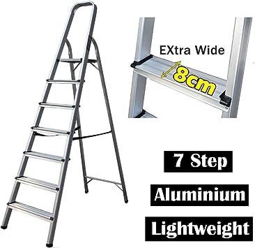 Escalera de seguridad antideslizante, plegable, ligera, de aluminio, fácil de transportar, capacidad máxima de 150 kg: Amazon.es: Bricolaje y herramientas