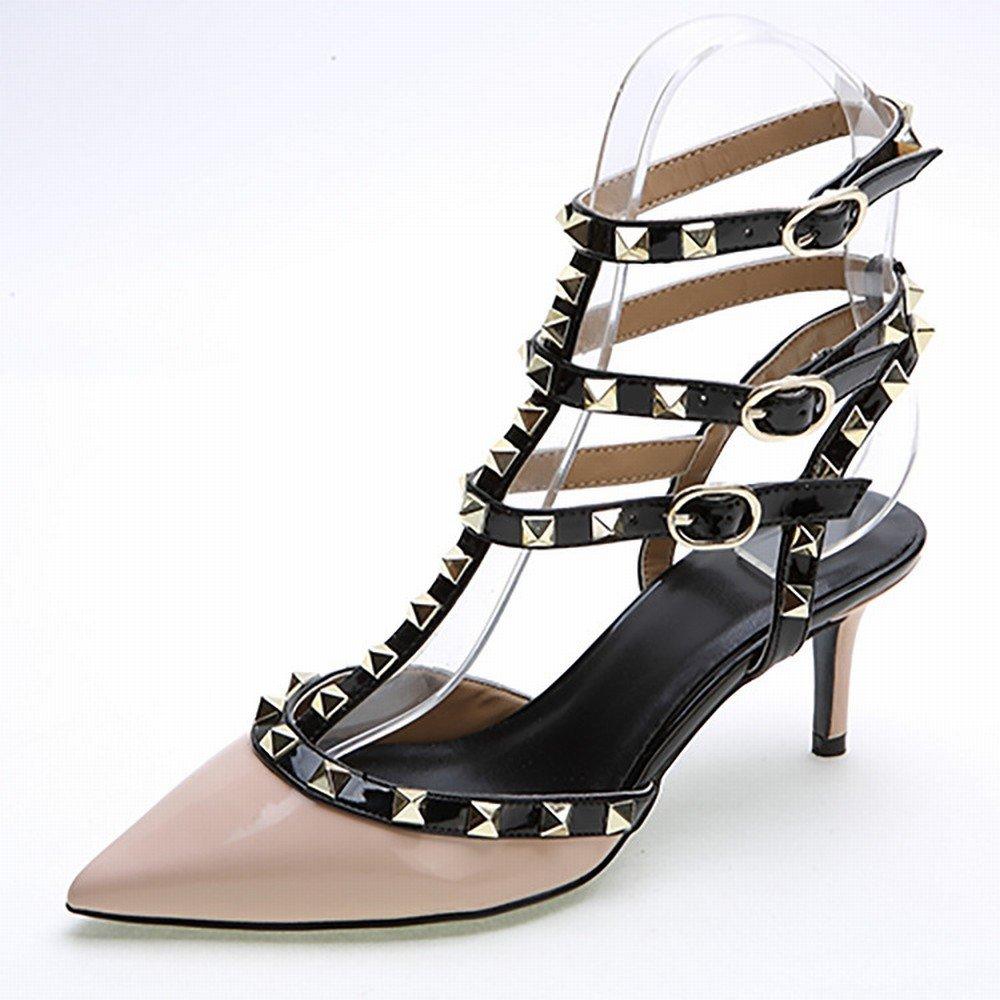WU Woherren Schuhe Western Spitz Feste Farbe 3 mit mit mit Einem Niet Lackleder Schuhe Damenmode Hochhackigen Schuhen 67f69a