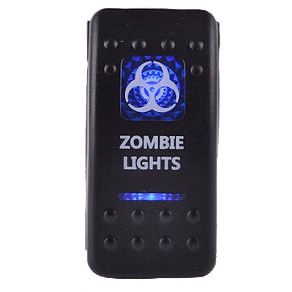 12V 24V Interruptor Palanca Led Azul Impermeable Luz Zombie 5 Pins para Barco Coche