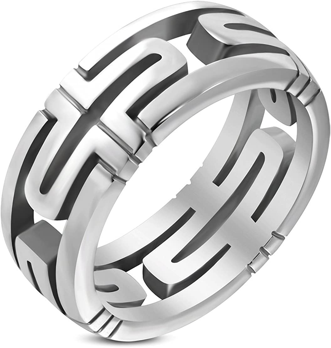 Stainless Steel Cut-out Geometric Cross Parentesi Ring
