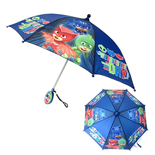PJ Mask Kids Youth Stick Umbrella with Character Handle : We Save The Day