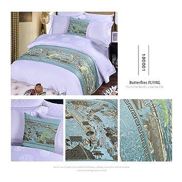 Multi-Table Toalla de Cama habitación del Hotel de Jacquard Toalla de Cama, Azul Claro 2,50X210CM: Amazon.es: Hogar