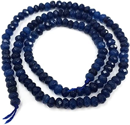 """4x6mm Faceted Blue Sapphire Rondelle Gemstone Loose Beads 15/"""""""