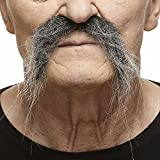 Mustaches Self Adhesive, Novelty, Fake, Realistic Fu Manchu, Salt and Pepper Color