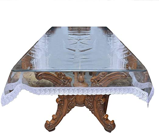 AP$COLLECTION Transparent Dining Table Cover Waterproof Beautiful Golden Lace Easy to Clean Durable 54-inch x 54 inch