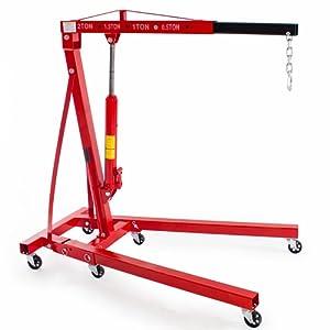 TecTake Grue d'atelier hydraulique pliable pliante sur roulettes jusqu'à 2 tonnes Grue de levage moteur