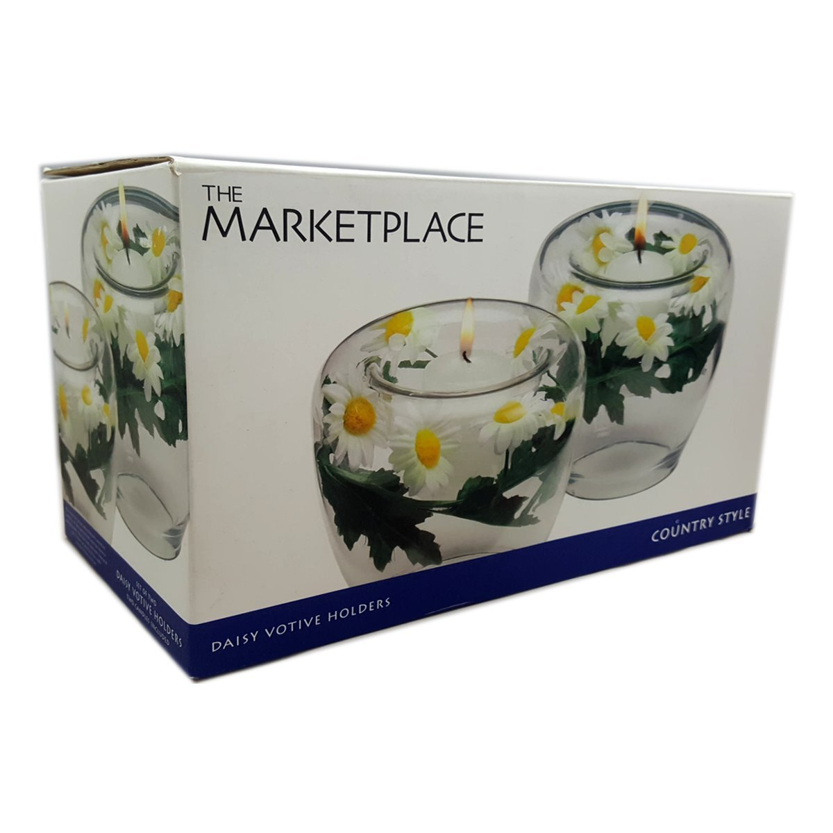 The Marketplace Country Style Daisy Votive Holders Set of Two (Candles Included)