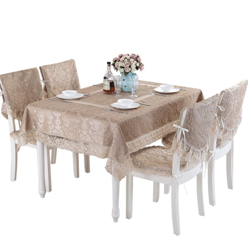 JPAKIOS テーブルクロスシンプルレース刺繍防塵スクエアクロスアートテーブルクロスのテーブルクロスの装飾ホームテーブルクロスは、ホームに適しています (Color : ブラウン, サイズ : 150*210CM) 150*210CM ブラウン B07Q7YG7SW