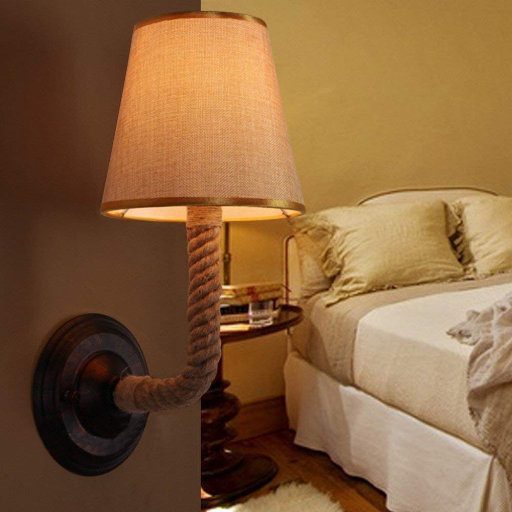 Ladiqi Bedroom Wall Sconce Lighting Fixture Vintage Rustic Hemp Rope Wall Lamp Lights Indoor Outdoor by Ladiqi (Image #5)