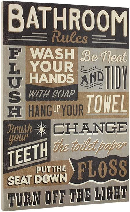 Bathroom Rules Wood Sign - Vintage or Kids Decor - Thick Plaque