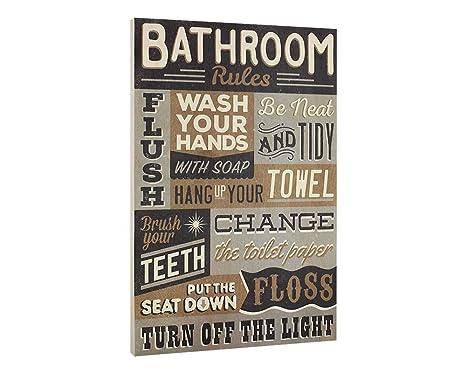 Amazon.com: Cuarto de baño reglas Letrero De Madera ...