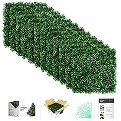 "flybold Artificial Boxwood Topiary Hedge Plant UV Protected Privacy Screen Outdoor Indoor Use Garden Fence Backyard Home Decor Greenery Walls Pack of 12 pieces 20"" x 20"" inch Dark Green"